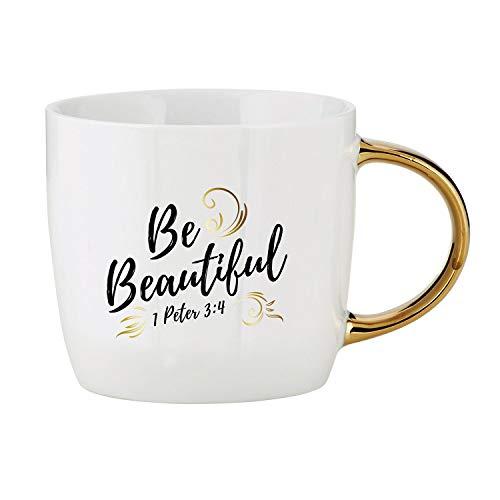 Be Beautiful 1 Peter 3:4 Kaffeetasse aus Steingut, goldener Griff, 400 ml