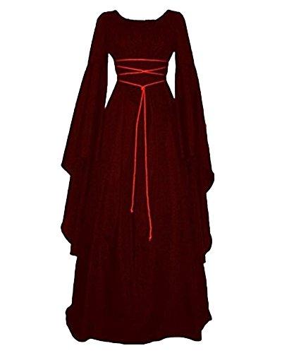 GladiolusA Disfraz Medieval De Mujer Vestido Largo Traje Medieval Cosplay Manga Larga Vino Rojo M