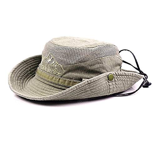 Gorra de pescador veraniega de algodón bordado para hombre visera sombrero de malla tapasol para al aire libre, caqui, talla única
