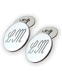 Gemelli da polsino tondi con iniziali in argento rodiato 925 millesimi. Crea il tuo paio di gemelli personalizzato