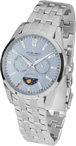 Jacques Lemans Men's Watch XL Analogue Quartz Stainless Steel Liverpool Moonphase 1–1804F