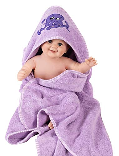 Asciugamano accappatoio bimbo con cappuccio - Accappatoio neonato 100% cotone GSM 500 -...
