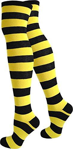 normani Top modische Damen Overknees in verschiedenen Designs/Baumwolle mit Elasthan Auswahl Farbe Schwarz/Gelb/Breit Größe - Gute College Kostüm