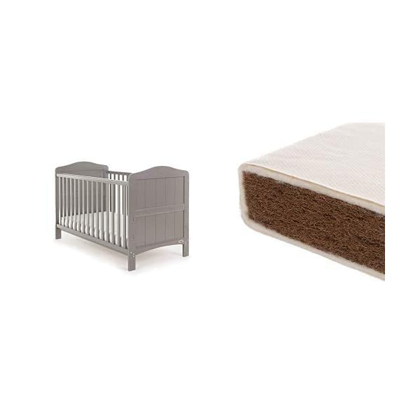 Obaby Whitby Cot Bed and Natural Coir Mattress - Taupe Grey Obaby The Whitby features a subtle curved top with slat effect end panels Adjustable 3 position mattress height, bed ends split to transforms into toddler bed Protective teething rails along both side rails, suitable from birth to approximately 4 years 1