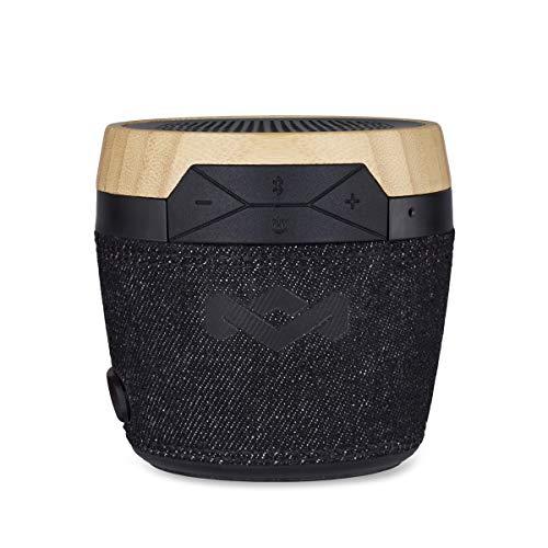 House of Marley Chant Mini - tragbare Bluetooth Lautsprecherbox (spritzwassergeschützt, 6 Std. Akkulaufzeit, integriertes Mikrofon, Karabinerhaken, kabellos verbinden mit iPhone, Samsung etc) black