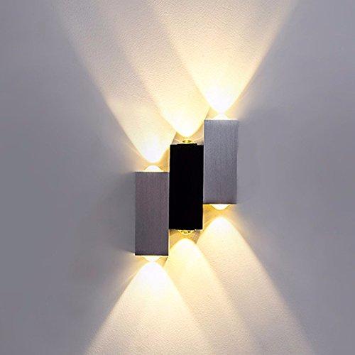 BoYX Camera Di Coperta 6W Led Lampada Da Parete Ac100V/220V Acrilico Abajur Materiale Alluminio Decorare Sconce Applique,Giallo