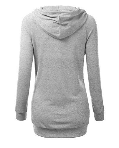 Brinny Femme Manteau Veste à Capuche Hoodie Slim Sport Sweat shirt Jumper Hauts Tops Taille S/M/L/XL Gris