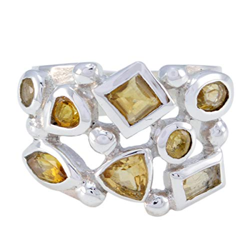 echte Edelsteine faincy facettierte Citrin Ringe - massiv Silber Yallow Citrin echte Edelsteine Ring - einzigartigen Schmuck meistverkauften Artikel Geschenk für Freund stapelbar Ring