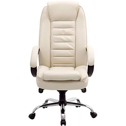 Komfort-Chefsessel Lucca, creme - Lederdrehstuhl mit hoher Rückenlehne - Schreibtischstuhl mit italienischem Design