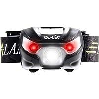 USB linterna frontal, OxyLED–Linterna frontal LED resistente al agua con Cree LED, 5modos, Outdoor Sport tasc henla mpeund anpass barem cinta para camping [Clase energética A + + +]