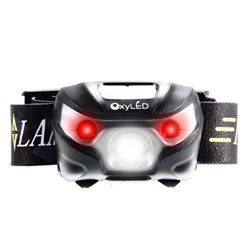 OxyLED - Lampada frontale a LED con USB, impermeabile, con 5 modalità, per attività all\'aria aperta, con fascia regolabile per il camping, classe energetica A+++
