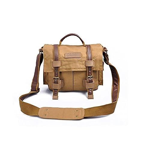 Tepoinn Canvas DSLR SLR Camera Bag sac housse imperméable pluie pour Sony Canon Nikon Olympus voyage sac à dos de l'appareil photo, appareil photo numérique Sac Messenger cas