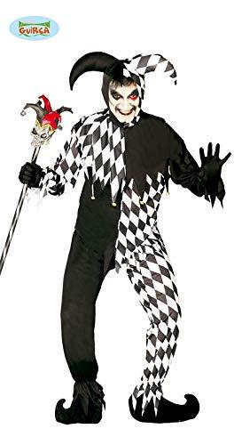 Costume carnevale/festa/Halloween - travestimento Joker, clown, uomo - bianco e nero - taglia M/L
