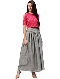 Jaipur Kurti Women's Jacquard Cold Shoulders Crop Top With Lining & Grey Pure Chanderi Skirt With Lining (Rani)
