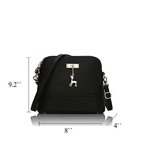 Honeymall donne di stampa della borsa a tracolla in pelle Bauletto Messenger piccolo Borsa Crossbody di moda Blu Nero