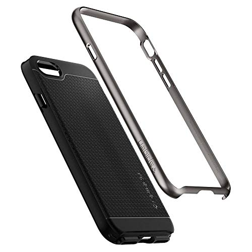 Cover iphone 7, cover iphone 8, spigen® [neo hybrid] [2nd generation] iphone 7 cover with flexible inner protection and reinforced hard bumper frame for iphone 7 (2016) / iphone 8 (2017) - gunmetal - 054cs22358