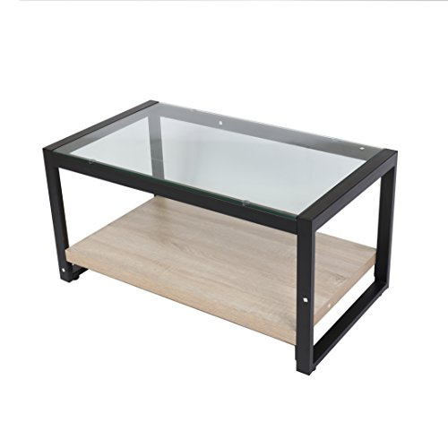 Cherry Tree Furniture CTF OLYMPIA Living Room Coffee Table Glass Top with Steel Frame & Wooden Shelf
