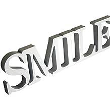 Rebecca Mobili Palabra Placa Decorativa Smile Madera MDF Blanco Estilo Moderno Decoración Hogar - 8 x