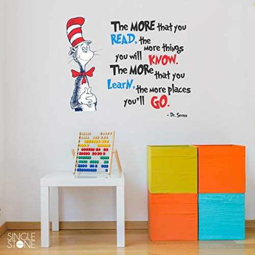 The More That You Read Dr. Seuss Cat In Hat Quote Wall Decal - Vinyl Words Mural for Home Bedroom Decoration Wall Decal Room Art Gift