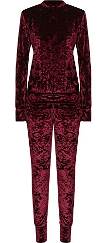 Islander Fashions Damen Plus Size Samt Loungewear Trainingsanzug Damen Langarm Top Leggings Co-Ord Anzug Wein UK 16
