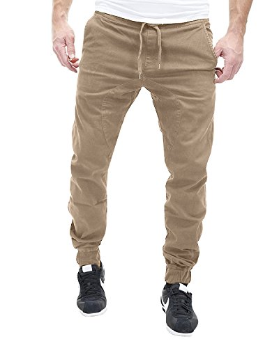 MODCHOK Herren Jogginghose Cottonhose Cargo Hose Chino Freizeithose Sweatpants Regular Fit Khaki XL