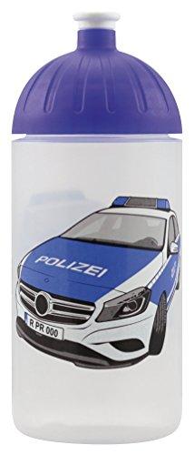 ISYbe Original Marken-Trink-Flasche für Klein-Kinder, 500 ml, BPA-frei, Polizeiauto-Motiv für Jungen, für Schule-Reisen-Kita-Kiga-Outdoor geeignet, Auslaufsicher auch mit Sprudel, Spülmaschine-fest
