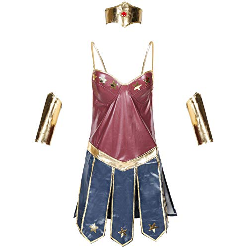 IDEALcos Halloween Wonder Woman Cosplay Kostüm Overall Outfit Kleid (XXL, Farbe 1) (Wonder Woman Kostüm Kleid)