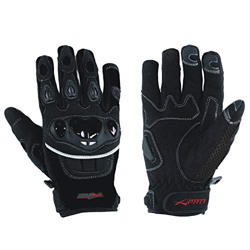 A-Pro Handschuhe Textil Motorrad Knoechel Schutz Sommer Racing Cross Quad Schwarz L
