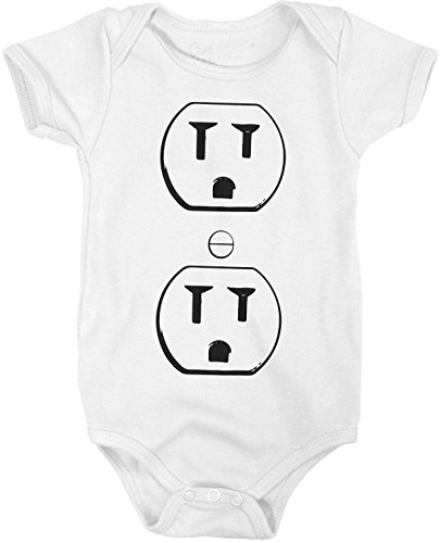 Crazy Dog Tshirts Outlet Plug Romper Funny Sarcastic Halloween Costume Cute Baby Creeper Bodysuit (White) 18-24 Months - Baby-Jungen - 18-24 Months (Creeper Neugeborenen-white)