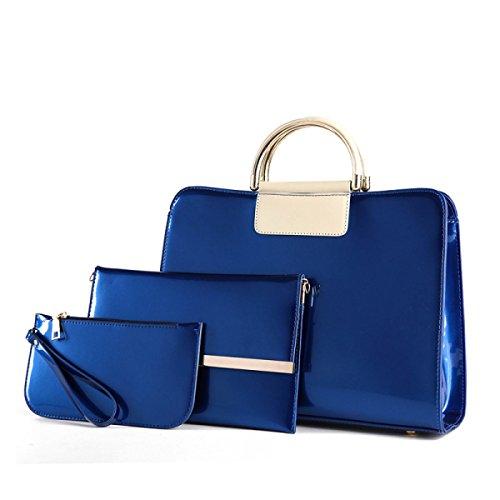 Donne Borsa Della Pelle Verniciata In Europa E Negli Stati Uniti A Tre Pezzi Spalla Catena Messenger Bag Blue