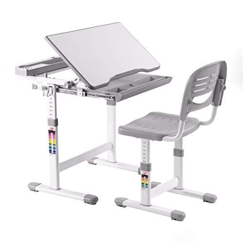 Höhenverstellbares Kinderstuhl-Set für Kinder , Höhenverstellbares Kinderschreibtisch-Kinderkinderstudium Multifunktionsstudie Zeichnen Graue moderne Kindermöbel-Set , Schreibtisch, Stuhl, Schreibtisc