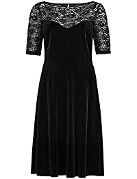 d196579e EX M&S MARKS & SPENCER Ladies Black Velvet Lace Yoke Skater Party Evening  Dress