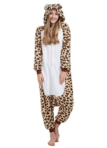 Jumpsuit Onesie Tier Karton Fasching Halloween Kostüm Sleepsuit Cosplay Overall Pyjama Schlafanzug Erwachsene Unisex Lounge Kigurumi Leopard Bär for Höhe ()