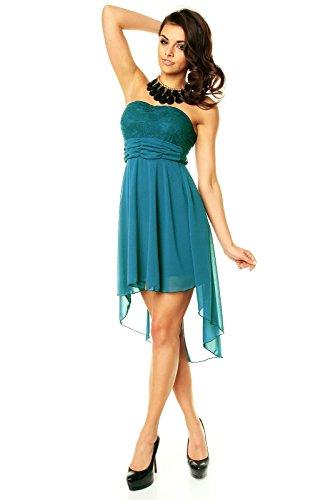 4193044fd23c Sexy Vokuhila Partykleid, Abendkleid, Cocktailkleid aus Chiffon, petrol blau