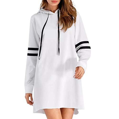 NPRADLA 2018 Herbst Damen Hoodie Langarm Lange Sweatshirt Jumper Pullover Kleid (XL/50, Weiß) - Off White Kleid Hose