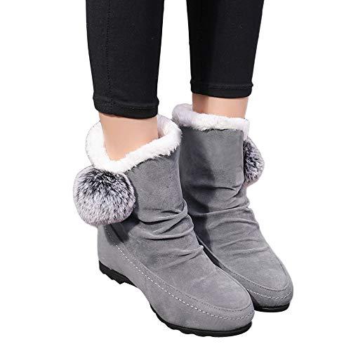 ❤️ Botas para Mujer de Piel de Invierno, Zapatos de cuña con Punta Redonda de Ante de Gamuza para Mujer Keep Warm Slip-On Snow Boots Absolute