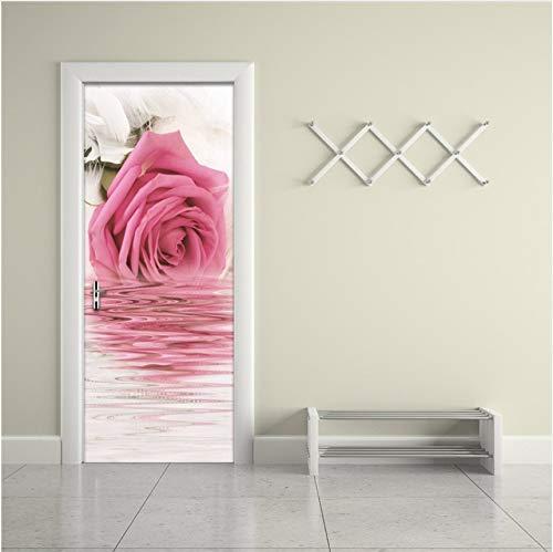 DAIHNZWC Rosa Rose Weiße Feder Bild Wandmalereien Wandaufkleber Tür Aufkleber Tapete Aufkleber Dekoration