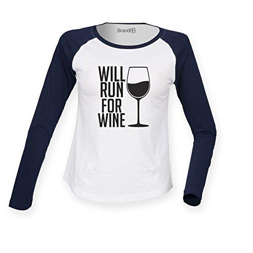 Brand88 - Will Run For Wine, Damen Langarm Baseball T-Shirt Weiss & Blau