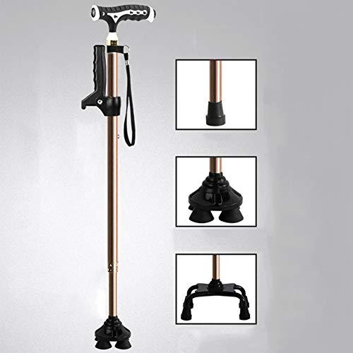 Gravity Trekking Walking Crutch, Aluminiumrohr, Mit LED-Leuchten, DREI Basen Frei Wählbar, Höhenverstellbar,Champagne-B~Upgrade -
