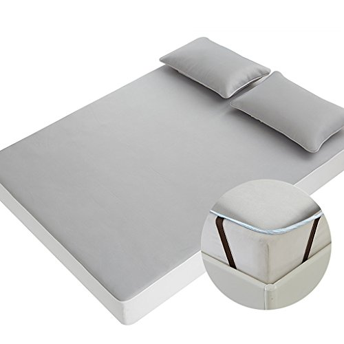 Sommerschlafmatte Ice Silk Cooling Air Conditioned Pad Faltbare waschbare Grasmatte dreiteilig (Farbe : Gray B, größe : 1.5m (5 ft) Bed) -