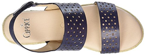 Caprice Damen 28612 Offene Sandalen mit Keilabsatz Blau (NAVY NAPPA)