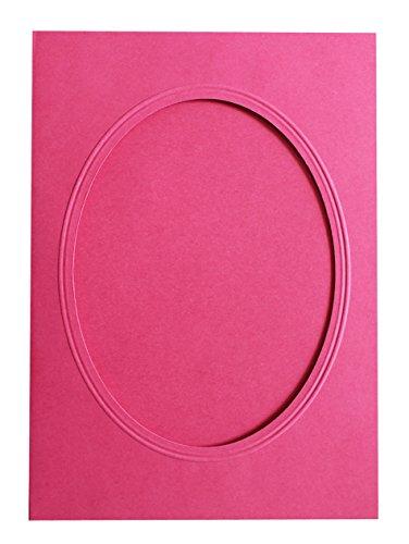 Rössler 220732554 Coloretti Karten, B6, Passepartout oval, 5 Stück, rosa