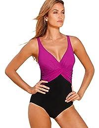 LaLaAreal Bikini Natacion Traje de Baño Una Pieza Bañador Mujer Alta Cintura Push Up con Aro