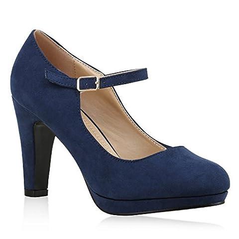 Damen Pumps T-Strap Blockabsatz High Heels Damen Mary Janes Samt Spangenpumps Lack Leder-Optik Schuhe 135523 Dunkelblau 37 | Flandell®