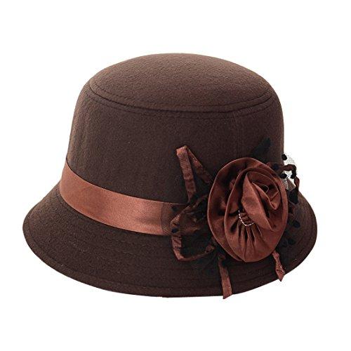 THENICE Damen Beanie Winter Hut eleganter Melone aus Filz, Herren Frauen, braun, Taille (Braun Bowler Kostüm Hut)