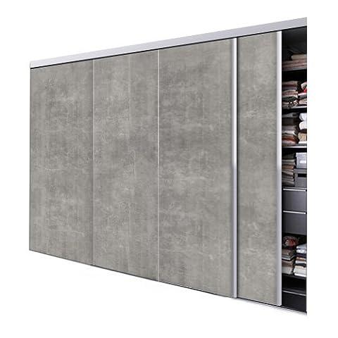 Tixelia - Porte De Placard Coulissante 4 Vantaux Motif Beton - Hauteur 250 Cm X Largeur 280 Cm