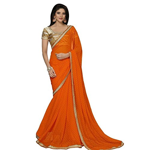 Sarees (Women's Clothing Saree For Women Latest Design Wear New Collection in Latest With Blouse Free Size Saree For Women Party Wear Offer Sarees With Blouse Piece) (D.J. Orange 8901)