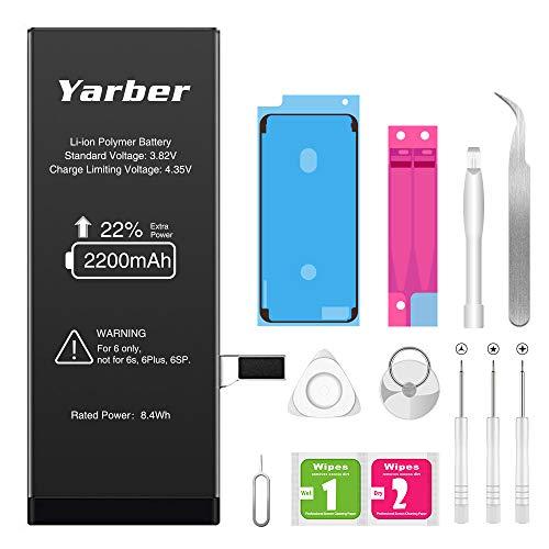 Akku für iphone 6 2200mAh, Yarber hohe Kapazität mit 22% mehr Polymer-Lithium-Batterie, Ersatz Austausch mit Werkzeug Set, Screen Adhesive, Klebestreifen und 2 Jahr Garantie
