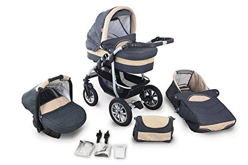 Clamaro 'CORAL 2019' Kinderwagen 3in1 Kombi System mit Babywanne, Sport Buggy und 0+ (0-13 kg) Auto Babyschale, Luftreifen, Federung, Schwenkräder und EASY-STOP Bremse - 24. Leinen Anthrazit Creme