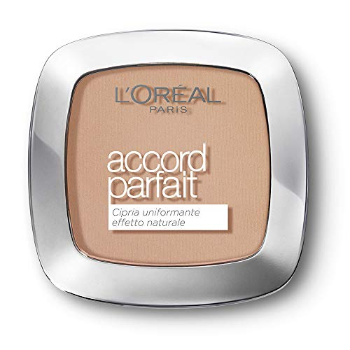 L'Oréal Paris Cipria in Polvere Uniformante Fissante Accord Parfait, Finish Matte e Risultato Naturale, 3D Beige Doré